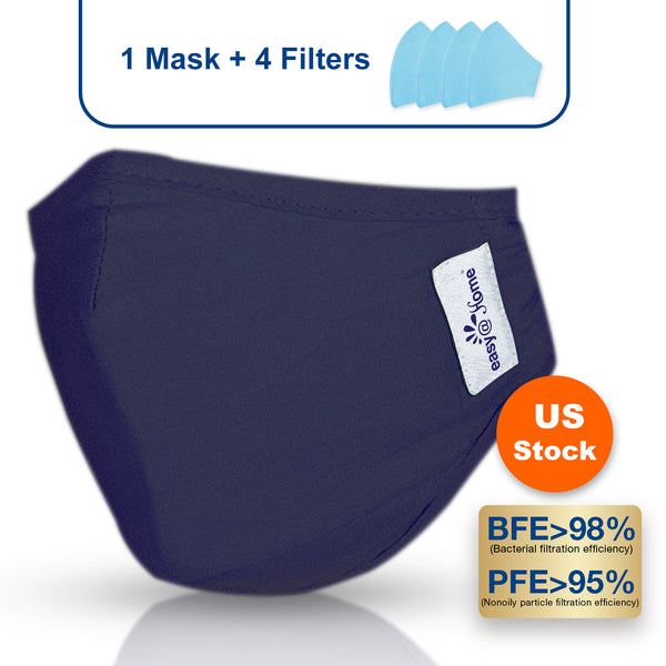 Premium Reusable Face Mask with 4 Filters, Washable Cloth Respirator Protective Mask, Safety Protection with Ear Loops for Home Use, Washable Mouth Cover to Shield Dust, Pollens, Smoke, Droplets and Particles, Medium, Navy Blue (1 mask+4 filters)