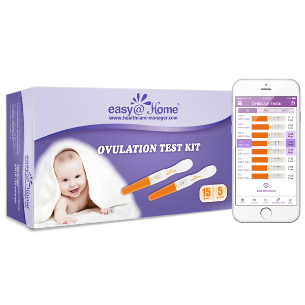 Easy@Home 15 Ovulation (LH) and 5 Pregnancy (hCG) Test Sticks, Midstream Fertility Test Kit Powered by Premom Ovulation Predictor App
