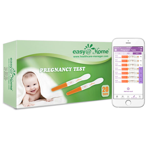 Easy@Home 20 Pregnancy Test Sticks - hCG Midstream Tests, Powered by Premom Ovulation Predictor iOS and Android App, 20 hCG Tests