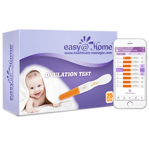 Easy@Home 25 Ovulation Predictor Kit Test Sticks - Midstream Fertility Tests Powered by Premom Ovulation Predictor App, 25 LH Test