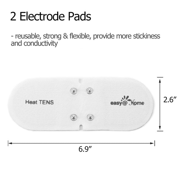 "Easy@home Tens Unit Self Stick Carbon Electrode Pads, 2 Pack 6.9"" x 2.6"" Reusable Pads- Non Irritating Design ETP018"