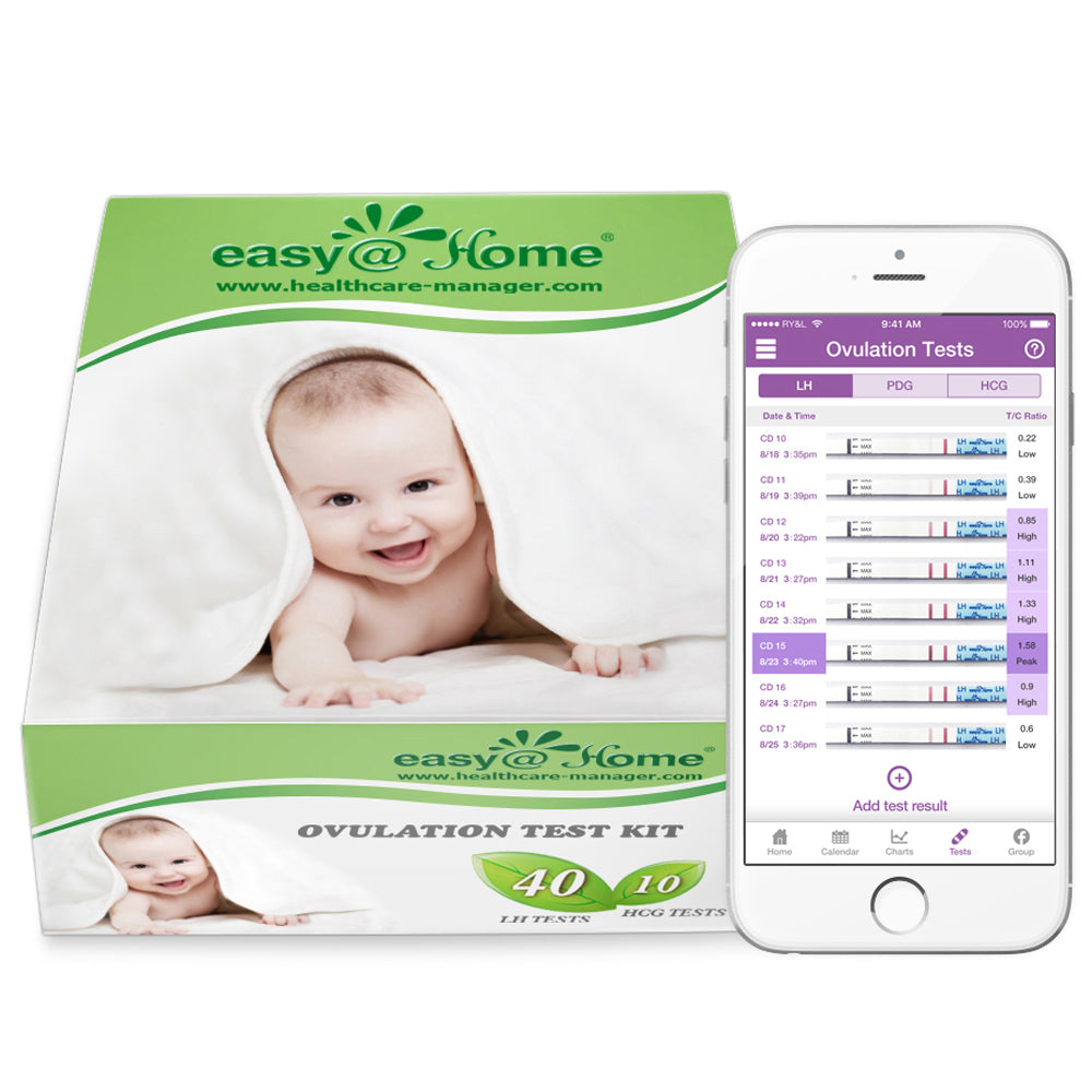 Easy@Home Combo 40 Ovulation (LH) and 10 Pregnancy (HCG) Tests Strips Kit