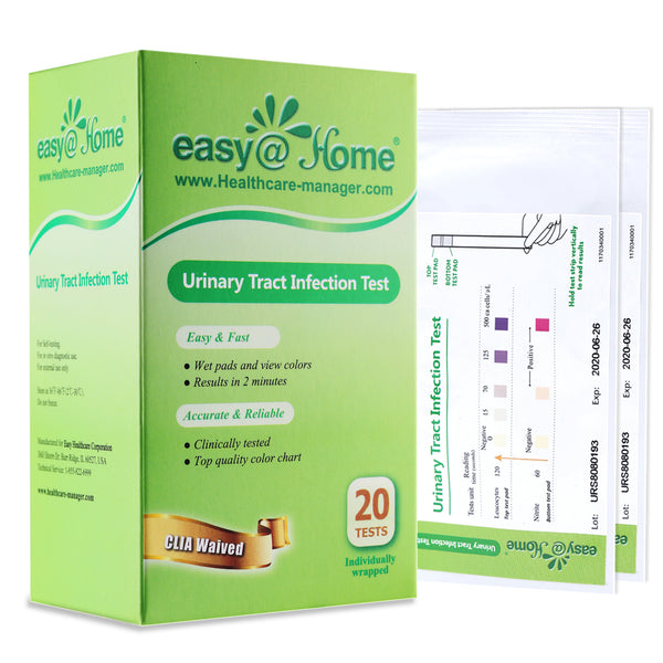 Easy@Home (UTI-20P) Urinary Tract Infection Test Strips (UTI Test Strips), 20 Tests/Box 20 Pouches