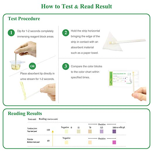 Easy@Home 100 Individual Pouch Urinary Tract Infection Test Strips, UTI Urine Testing Kit for Urinalysis and Detection of Leukocytes and Nitrites (UTIPOUCH-100P)