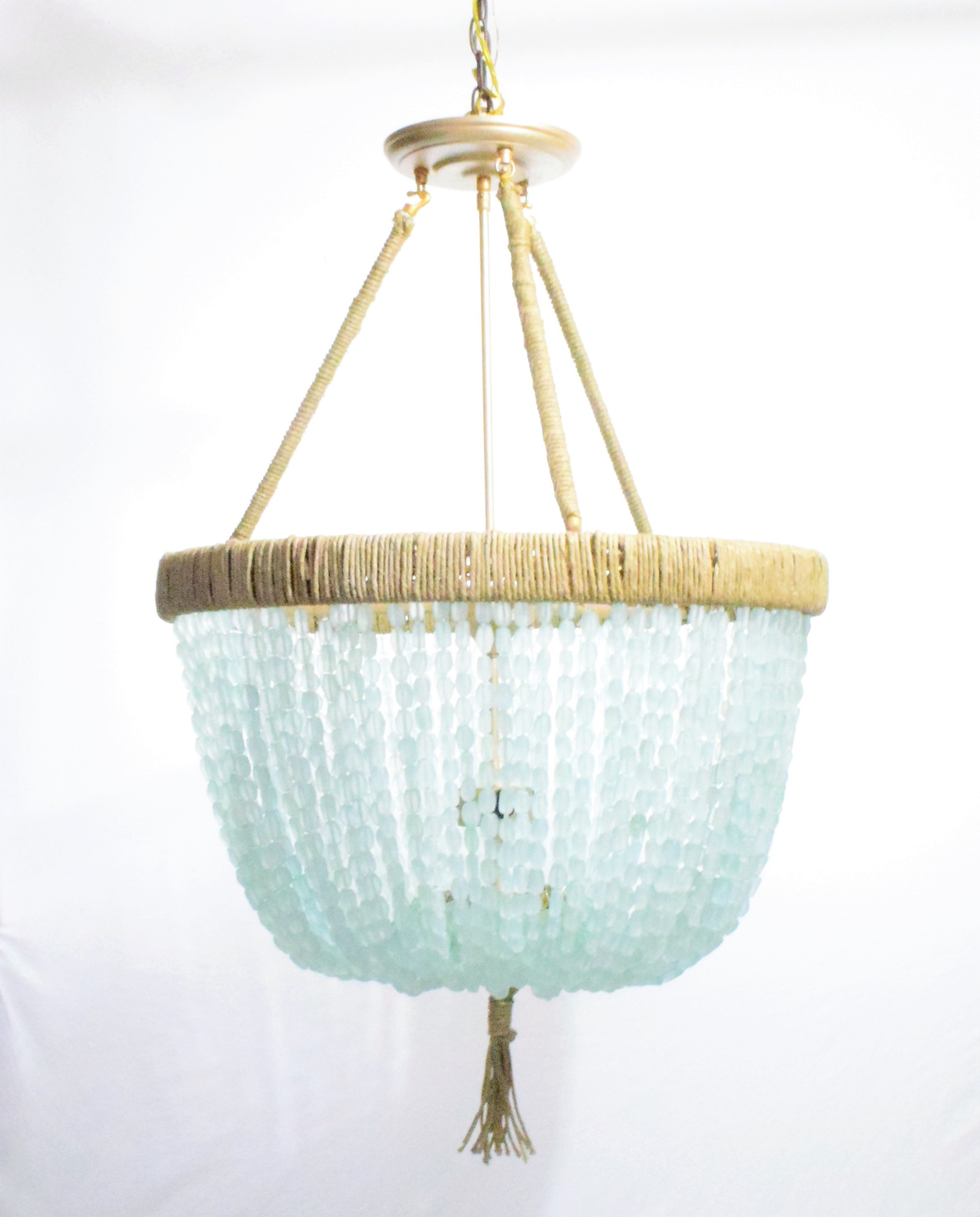 Cynthia Sea Glass Nugget Open Chandelier Au Courant Interiors
