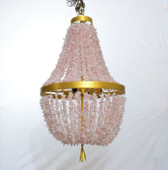 Jacqualine - Rose Quartz  Pebbles Empire Chandelier - Au Courant Interiors