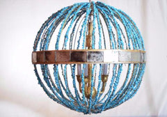 Grand-mere - Turquoise Sphere Chandelier - Au Courant Interiors