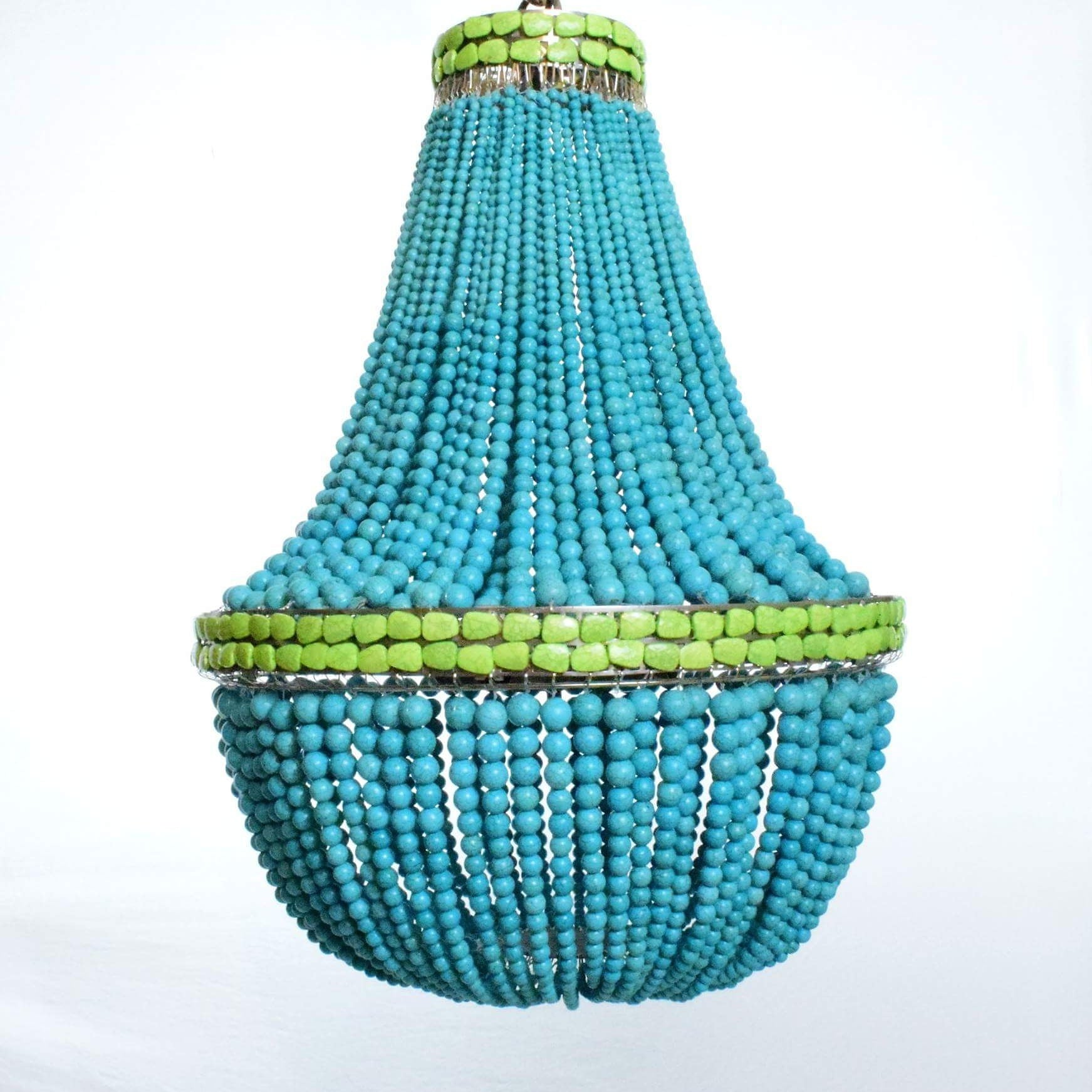 turquoise chandelier lighting. Nicole - Turquoise Stone Empire Chandelier With Green Band Au Courant Interiors Lighting
