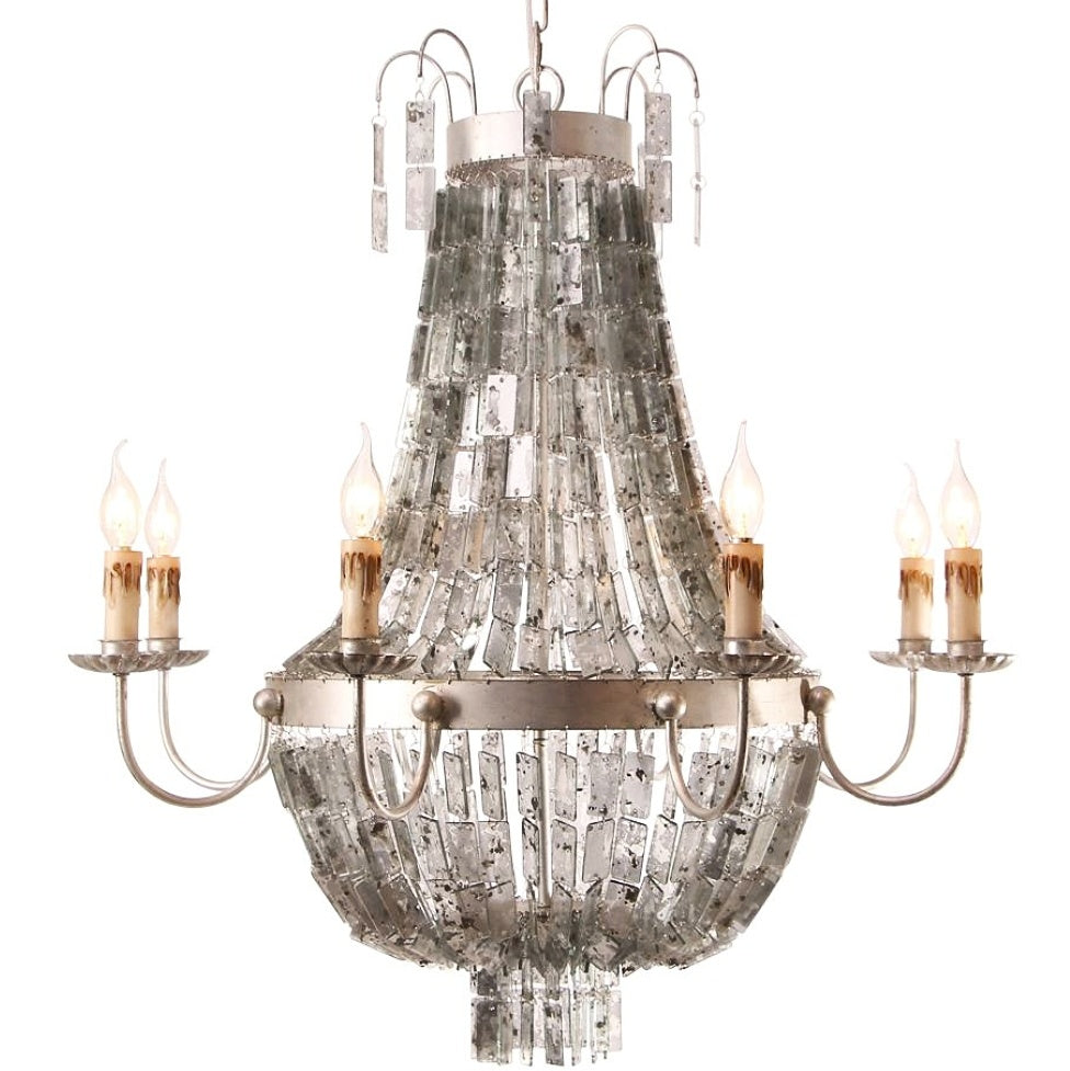 D'or - Mirrored Mercury Glass Beaded  Empire Chandelier - Au Courant Interiors