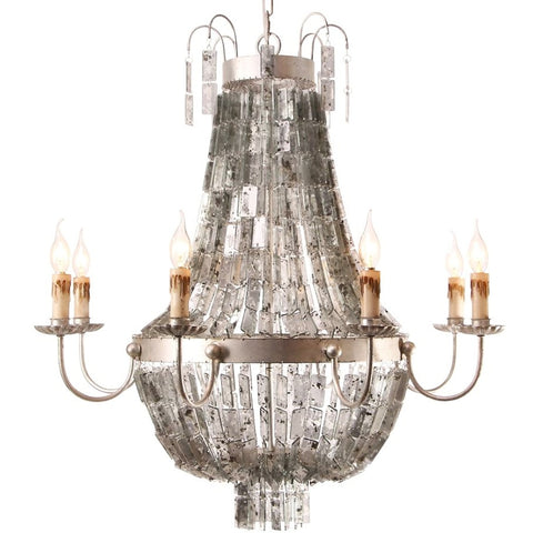 D'or - Mirrored Mercury Glass Beaded  Empire Chandelier