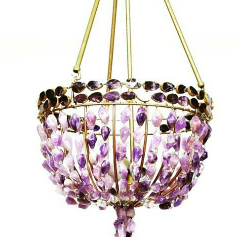 Zuri - Au Courant Interiors LLC- 14k Gold & Amethyst Chandelier