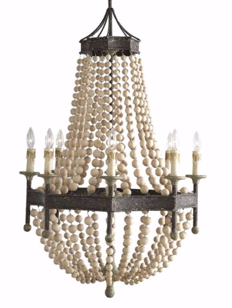Kamille - Wooden Bead Empire Chandelier - Au Courant Interiors