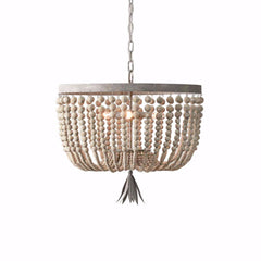 Kane - Wooden Beaded  Empire Chandelier - Au Courant Interiors