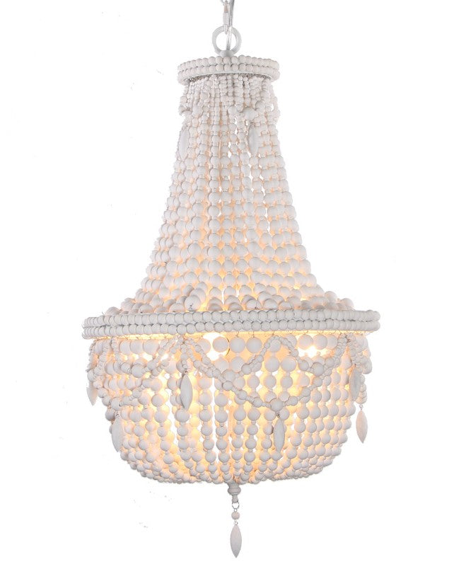 Karcsi - Exotic  Painted Wooden Beaded  Empire Chandelier - Au Courant Interiors