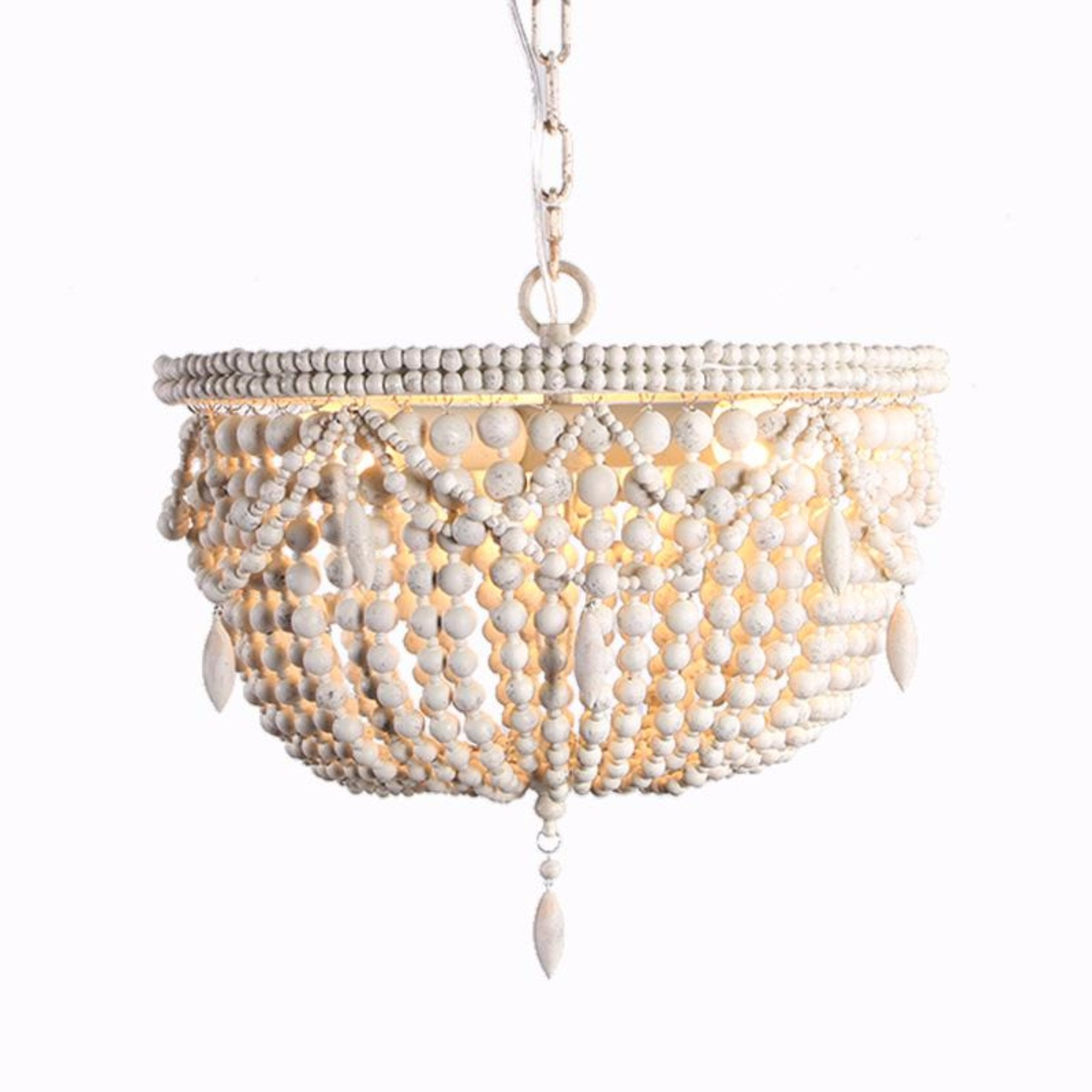 hanging white lamp beaded wooden beads wood in chandelier