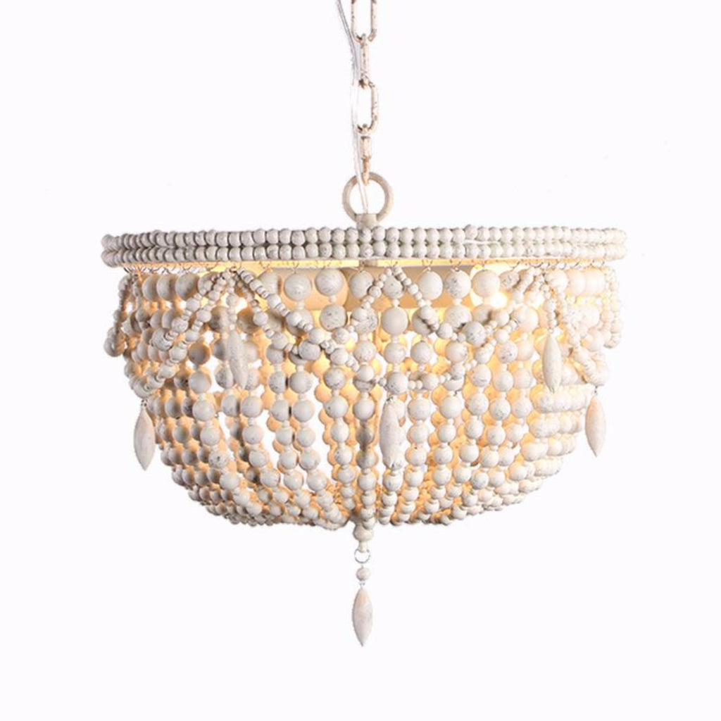 Kayla - Wooden Beaded  Empire Chandelier - Au Courant Interiors