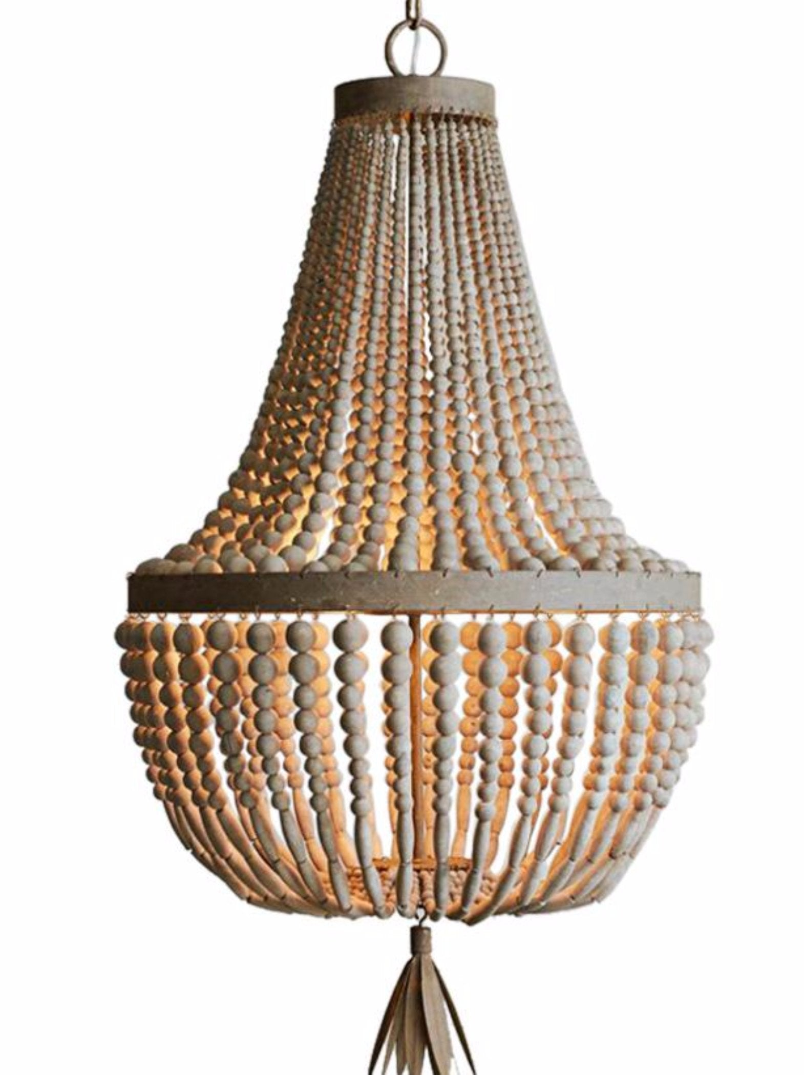 Kay primitive wooden beaded empire chandelier au courant interiors kay primitive wooden beaded empire chandelier au courant interiors aloadofball Image collections