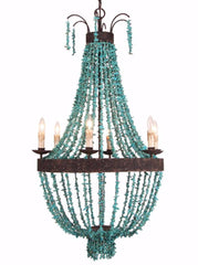 Taillefer - Turquoise Chip Beaded  Empire Chandelier - Au Courant Interiors