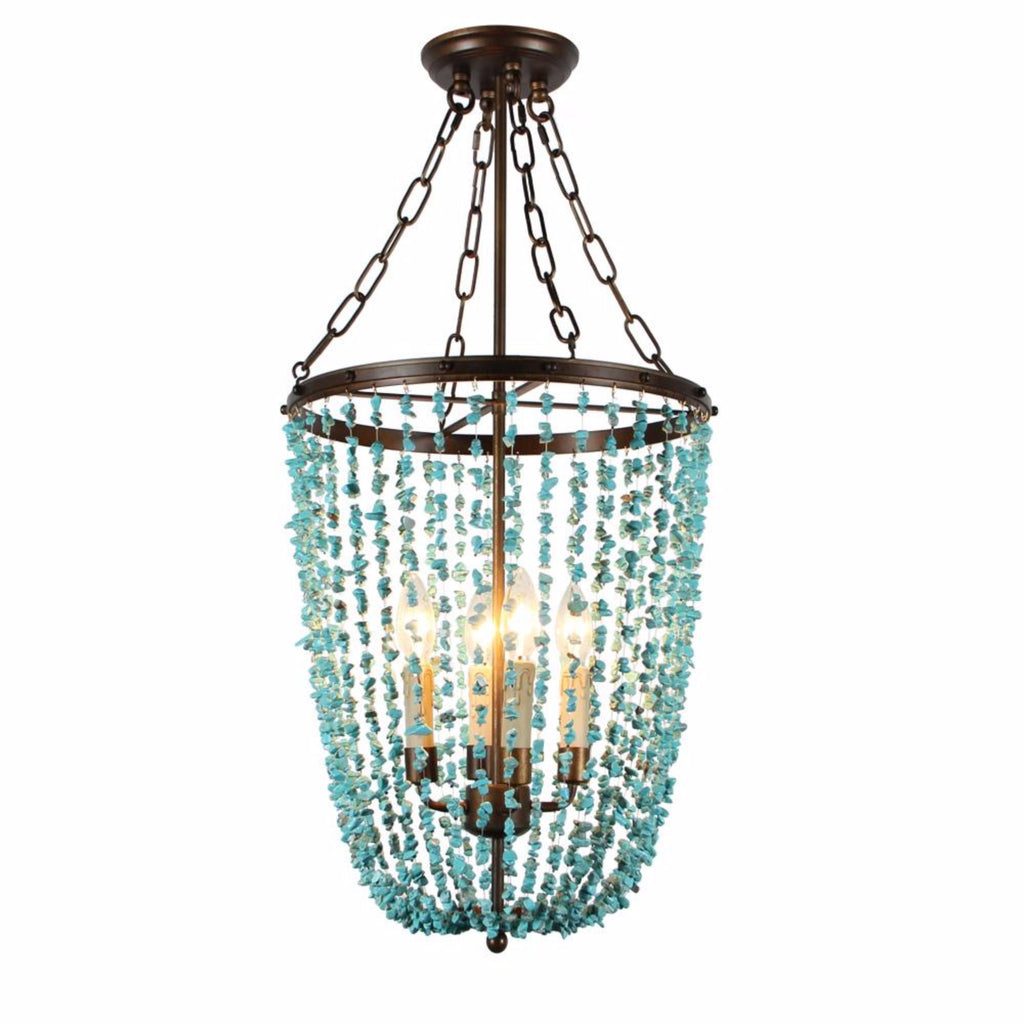 Tempeste- Turquoise Beaded  Empire Chandelier - Au Courant Interiors