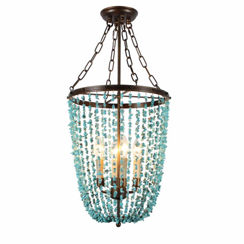 Tempeste- Turquoise Beaded  Empire Chandelier