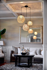 Sophie -  3 Pendant Hemp Twine Ceiling Light - Au Courant Interiors