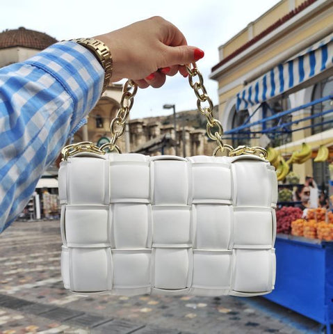 Athina white bag with gold chain