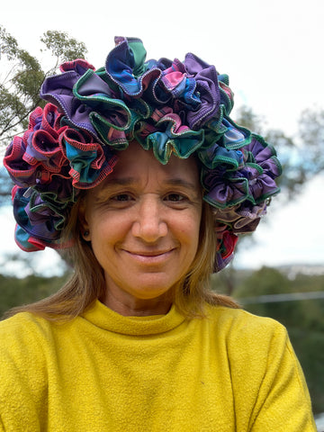colourful scrunchies made into a crown