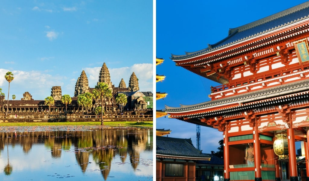 Japanese Temple and Angkor Wat