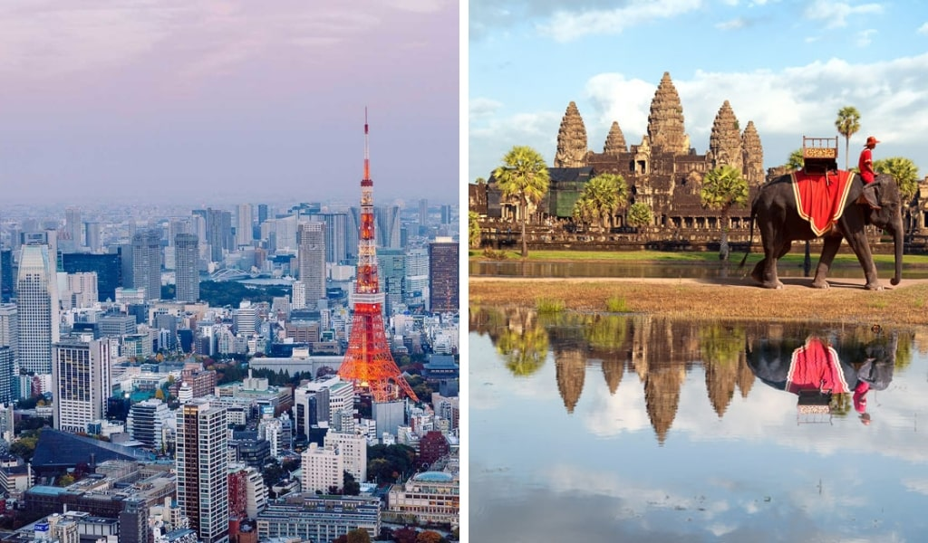 Tokyo Tower and Angkor Wat With Elephant