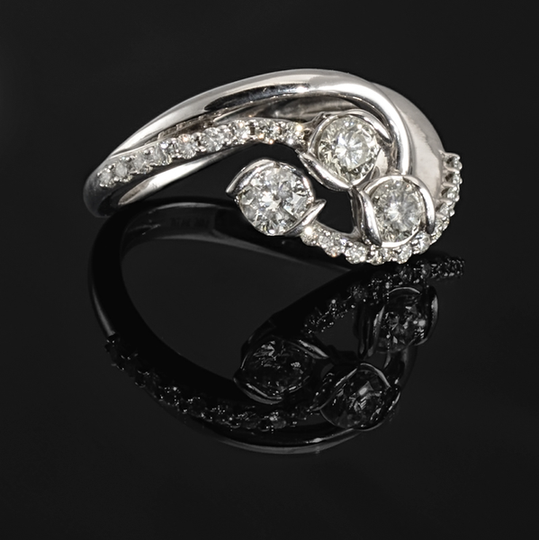 Sirena Collection 14k White Gold Three Stone Diamond with Pave Swirls .75 ctw Ring