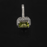 Emerald Shaped Peridot with Diamond Micropave Halo Ring 4.28 ctw  in 14k White Gold