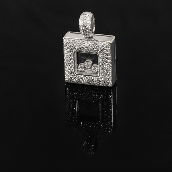 Chopard 18k 750 White Gold Square Happy Diamonds Pendant 1.14 ctw