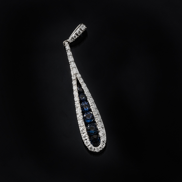 Swinging Tear Drop Shaped Sapphire and Diamond Halo Pendant in 14k White Gold