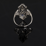 Art Deco Antique Old Mine Cut Diamond and Sapphire Filgree Engraved Ring