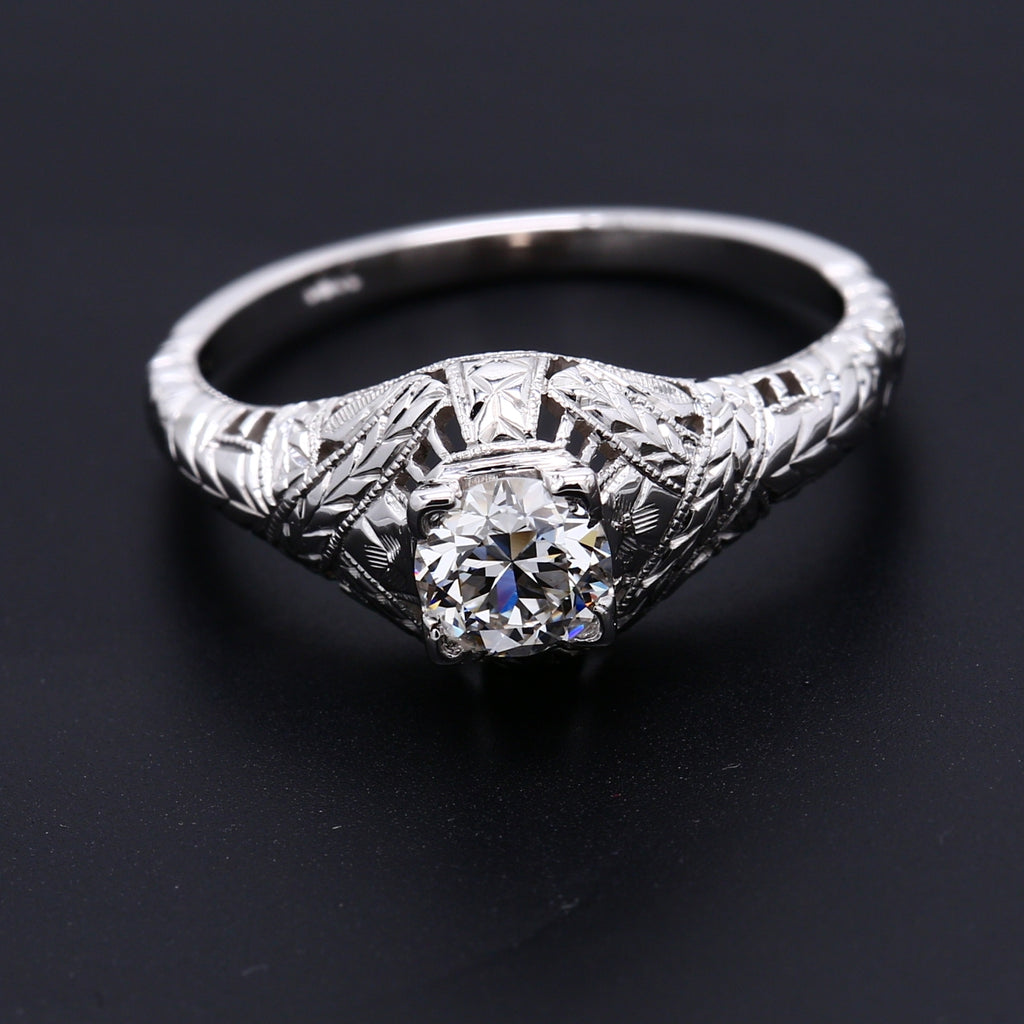 Antique Art Deco .55ct Diamond Solitaire Floral Filgree Ring in 18k White Gold - 1477 Jewelers