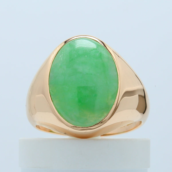 Oval Cut Natural Men's Jadeite Jade Cabachon Solitaire Ring 14K Gold - 1477 Jewelers