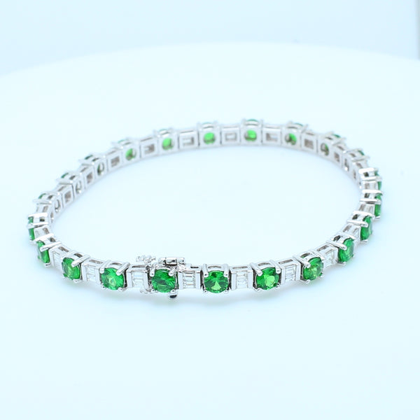 Tsavorite and Diamond Tennis Bracelet