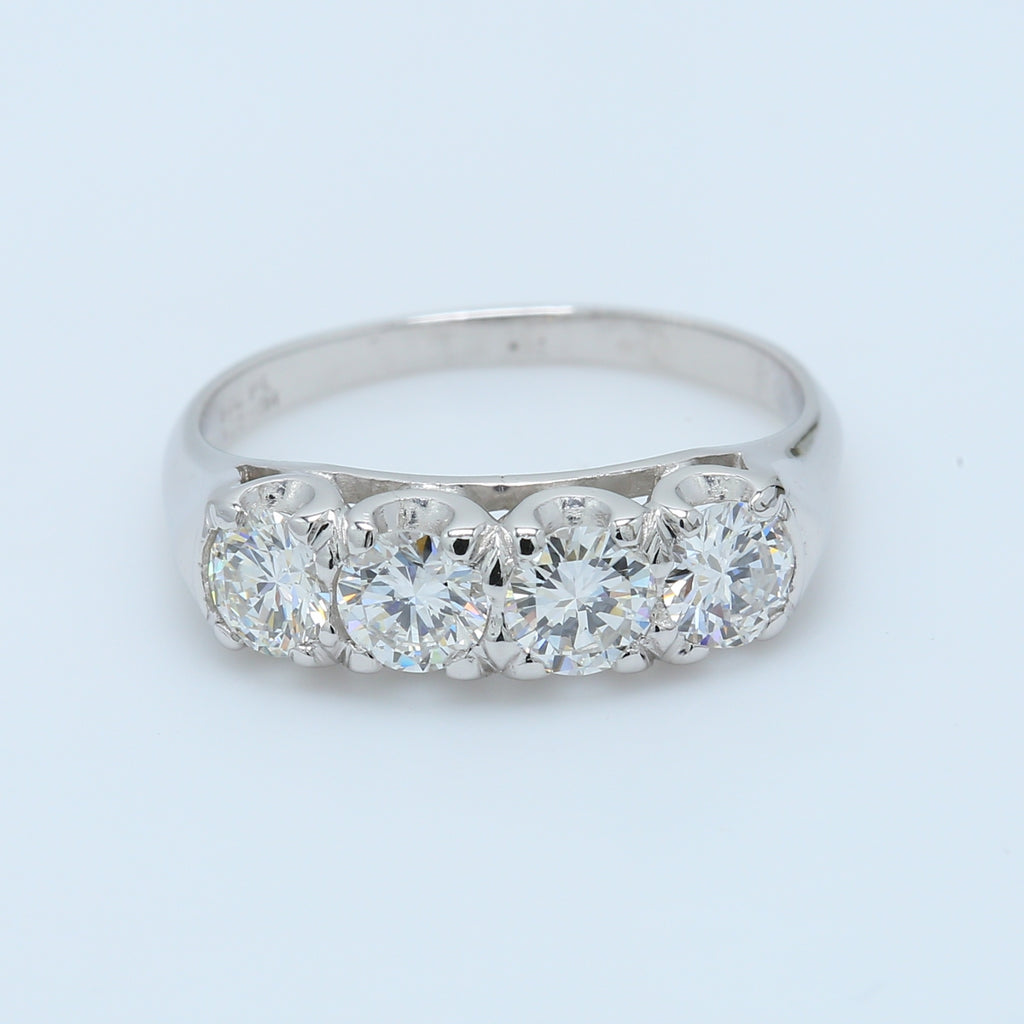 4 Stone 1.20ct Platinum Diamond Band - 1477 Jewelers