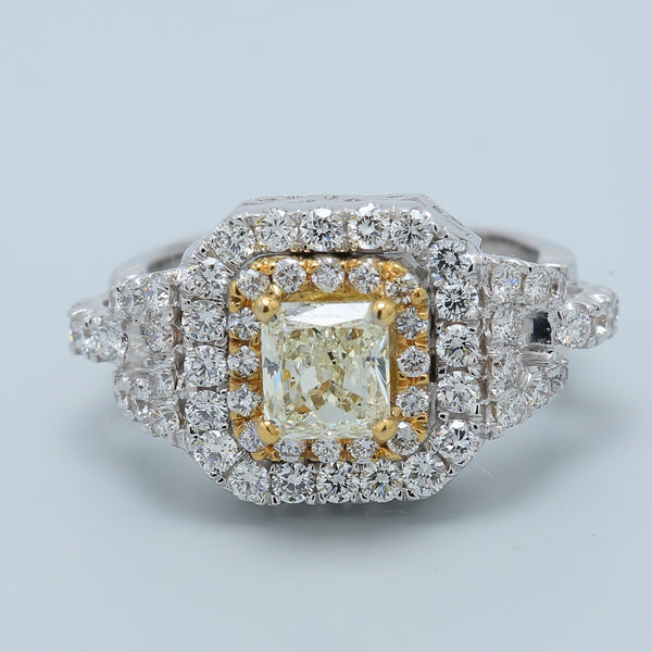 1.25 ct Square Radiant Fancy Faint Light Yellow with Two Toned Diamond Double Halo in 14k - 1477 Jewelers