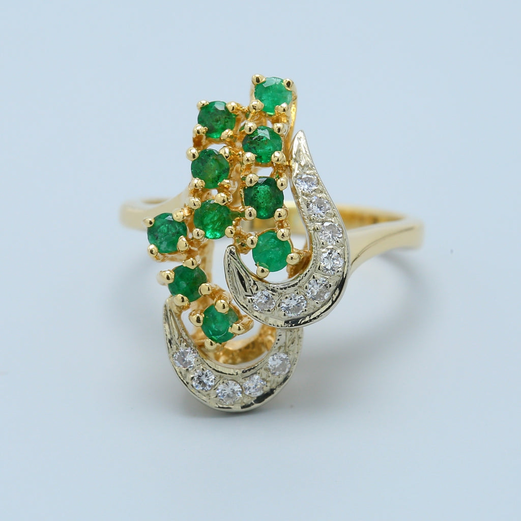Emerald and Diamond 14k Cocktail Ring - 1477 Jewelers