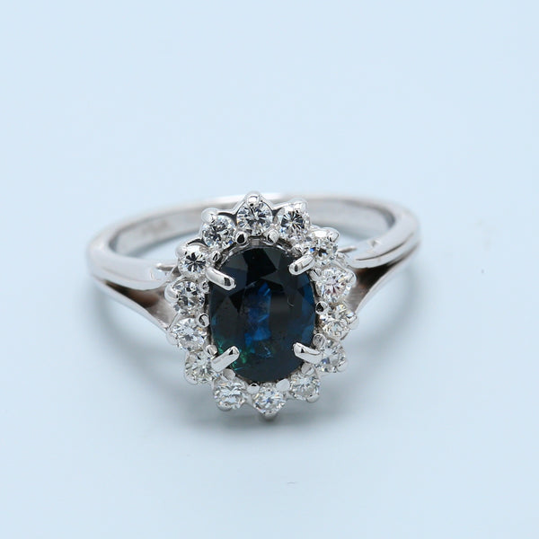 Oval Sapphire with Diamond Halo Split Shank Ring - 1477 Jewelers