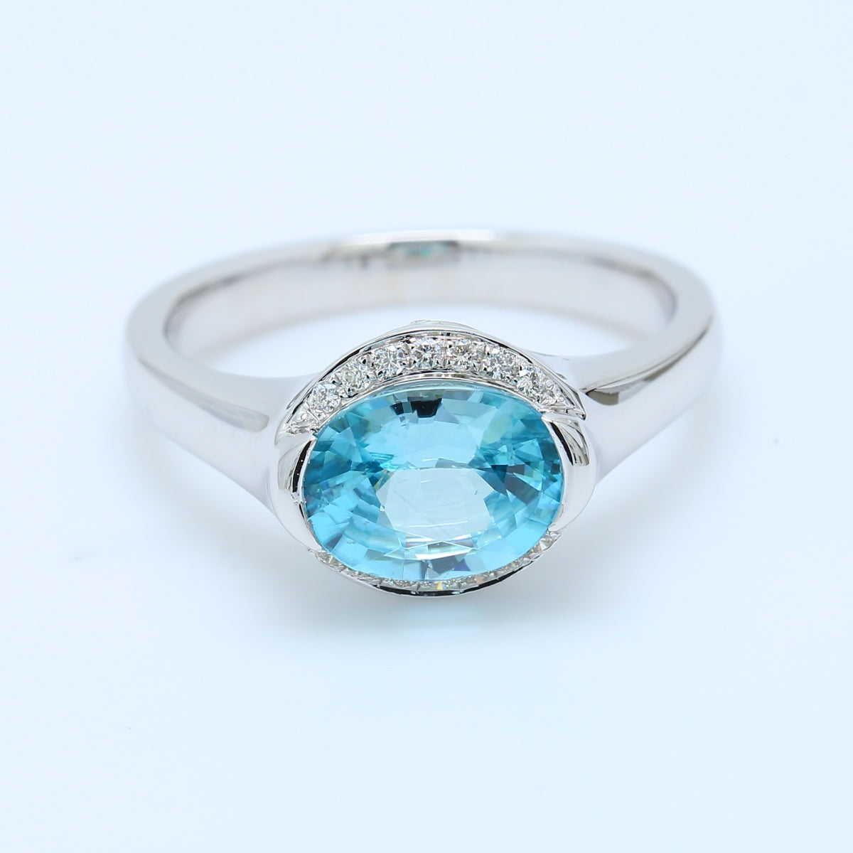 Fancy Blue Topaz and Diamond Ring