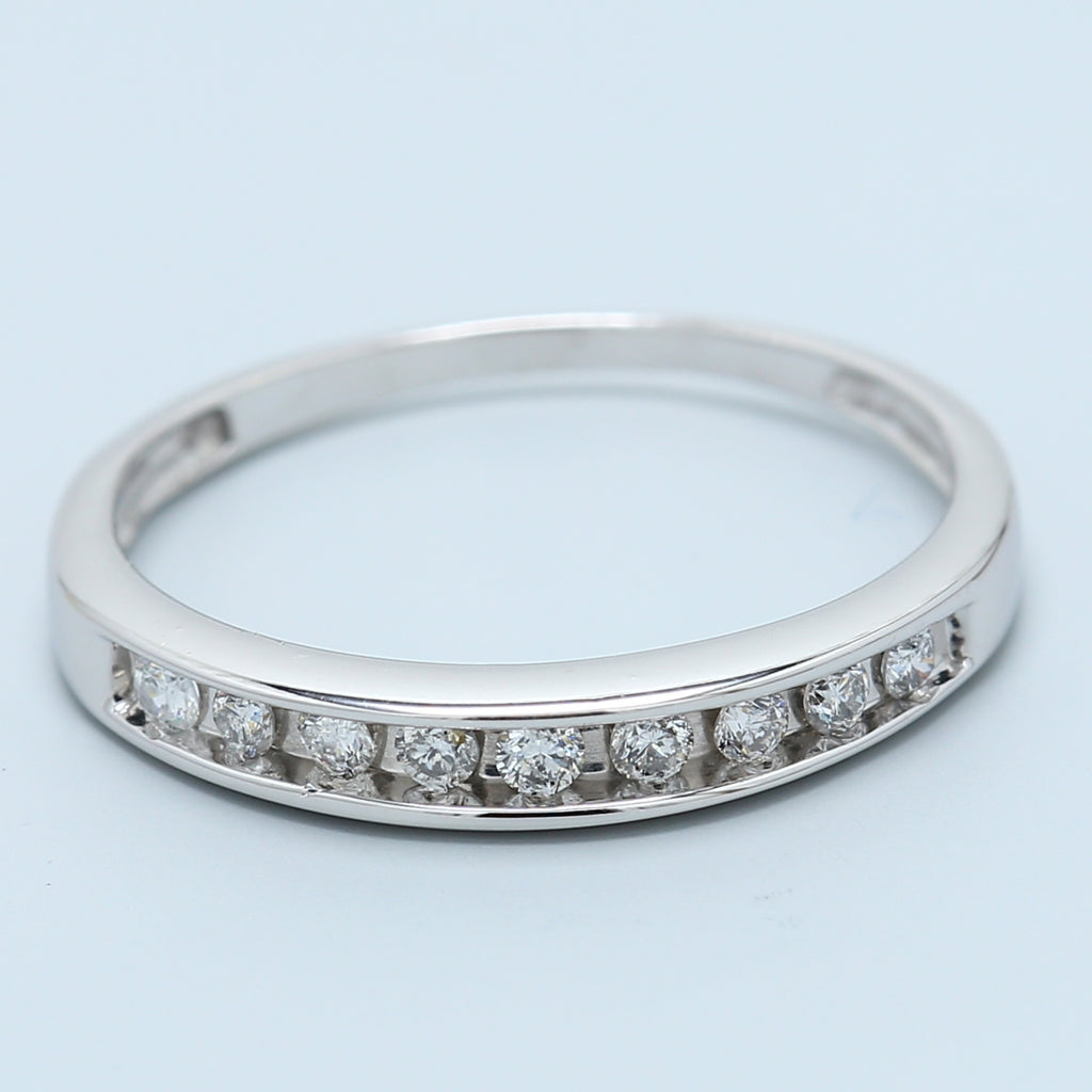 Nine Round Diamond Channel Set band in 14k White Gold .18 ctw - 1477 Jewelers