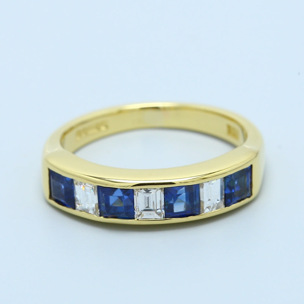 Sapphire and Diamond Band in 18k Yellow Gold - 1477 Jewelers