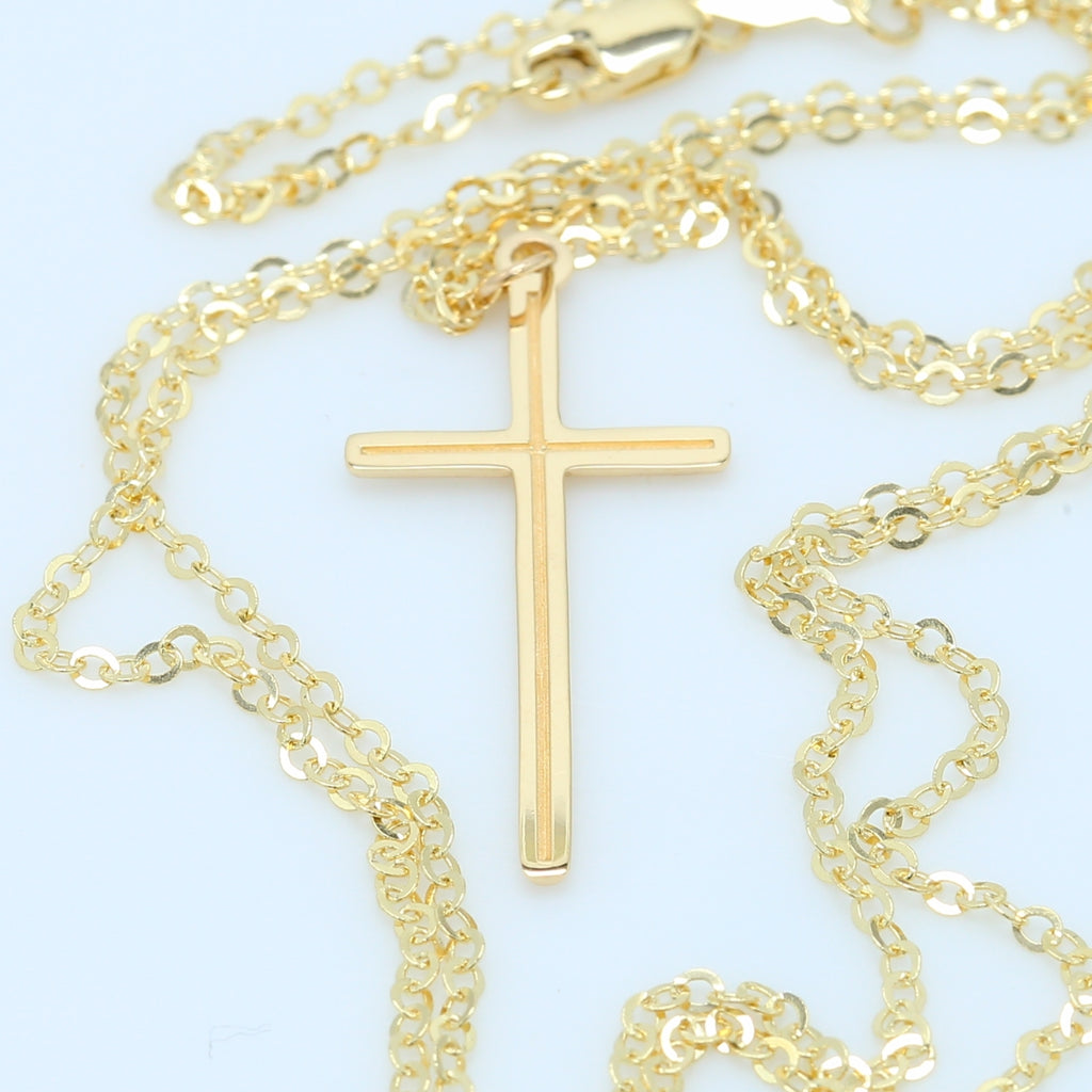 Yellow Gold Cross Necklace - 1477 Jewelers