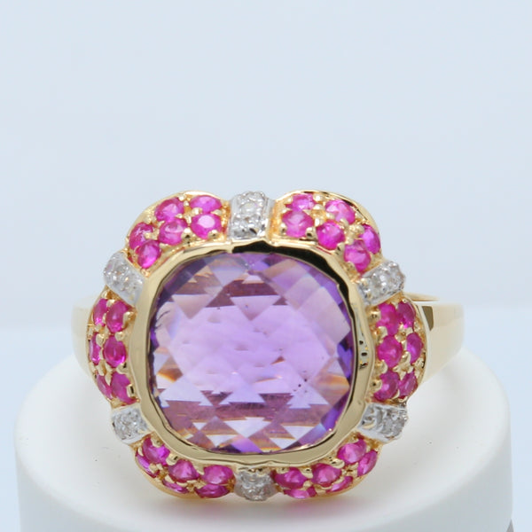 Checkerboard Cushion Amethyst Ring - 1477 Jewelers