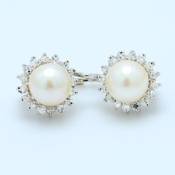 Precious 18k White Gold Pearl and Diamond Halo Lever-back Earrings - 1477 Jewelers