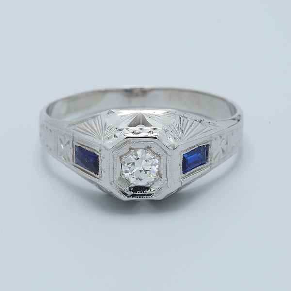 Antique Diamond and Sapphire Ring - 1477 Jewelers