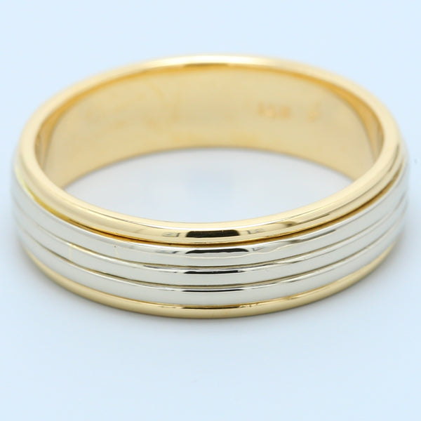 Men's Two Toned Wedding Band in 14k White Gold and 14k Yellow Gold - 1477 Jewelers