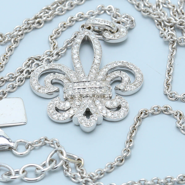 Round Diamond Fleur De Lis Pendant in White Gold - 1477 Jewelers